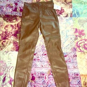 Brown vegan leather free people high waist size 27